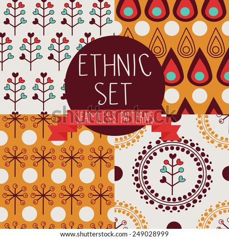 set of abstract seamless patterns, drop and floral ethnic elements, boho palette, vector illustration - stock vector