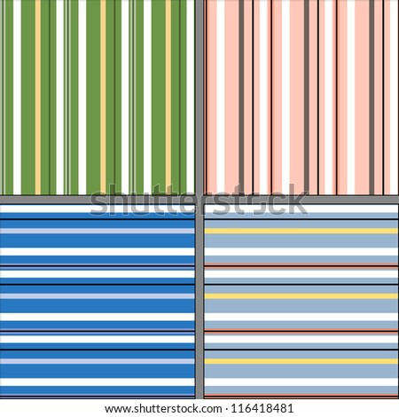 Set of abstract seamless patterns. Geometrical background with stripes. - stock vector