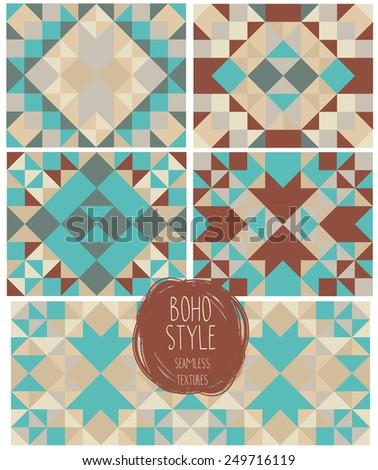 set of abstract seamless patterns, kaleidoscope ornaments, boho palette, vector illustration - stock vector