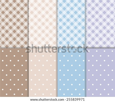Set of abstract seamless small polka dot and checkered pattern in pastel brown, gray, light blue and purple color with white circle and line. vector art image illustration background, simple design - stock vector