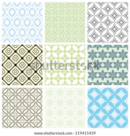 set of abstract seamless vector ornament patterns - stock vector