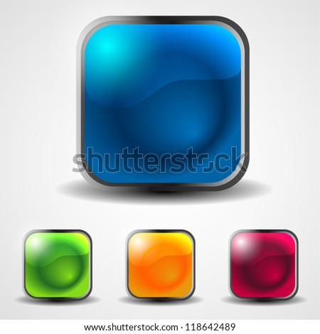 set of abstract shiny web buttons - stock vector