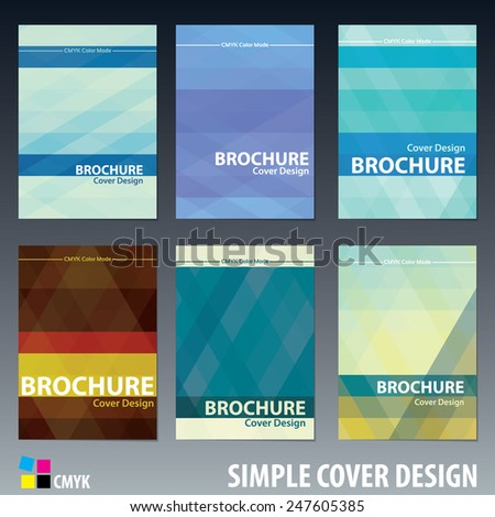 Set of abstract simple cover design templates with striped backdrops for brochure, book, catalog, report or textbook. CMYK color mode. Vector layout - stock vector