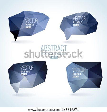 Set of abstract speech balloons or talk bubbles of black crystal glass pattern. Good as label template for business advertising - stock vector