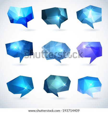 Set of abstract speech bubbles or talk balloons of polygon prism pattern. Good as advertising template design elements - stock vector