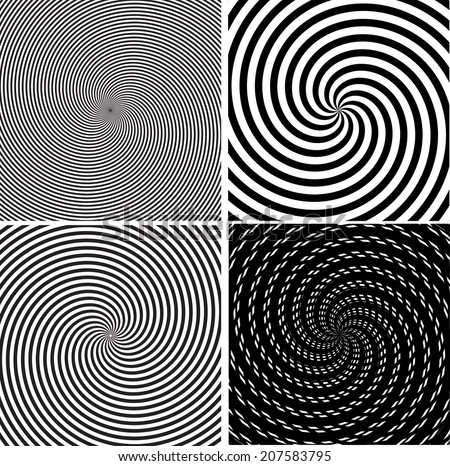 Set of abstract spiral background. Vector illustration.  - stock vector