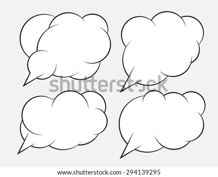 Set of 4 abstract talking bubbles with white fill. - stock vector