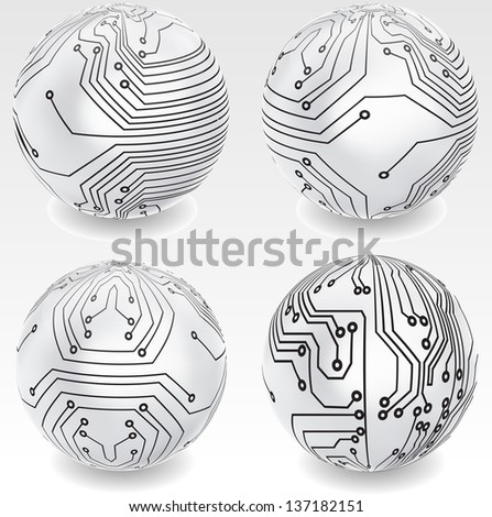 Set of abstract technology globes