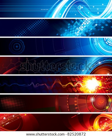 Set of abstract technology web banner. - stock vector