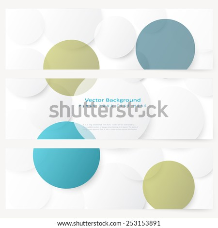 Set of abstract template banner with simple volume color circles  - stock vector