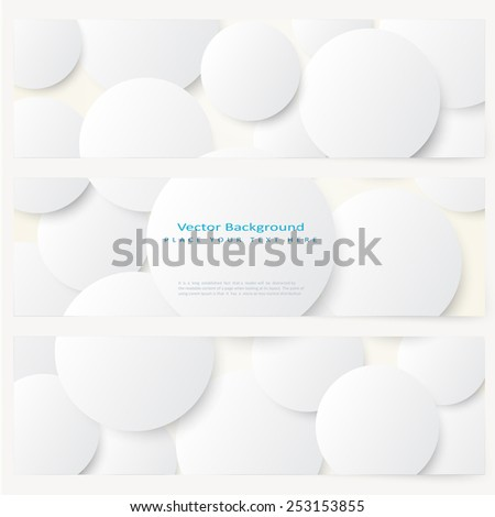 Set of abstract template banner with simple volume white circles