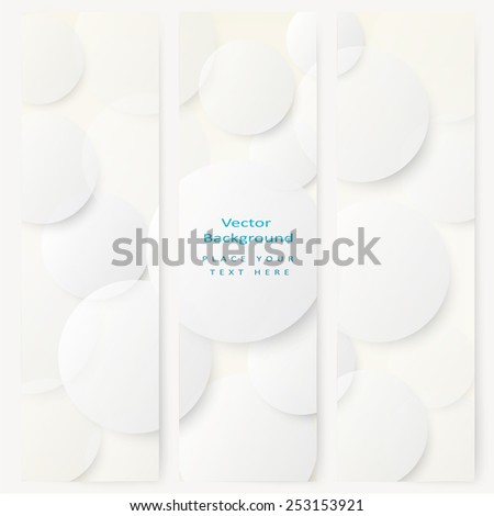Set of abstract template banner with simple volume white circles  - stock vector