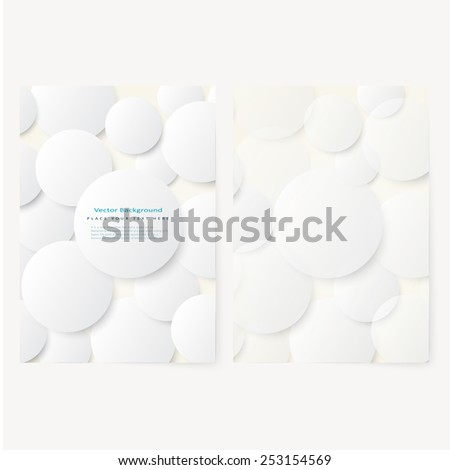Set of abstract template flyer with simple volume white circles . Design element - stock vector