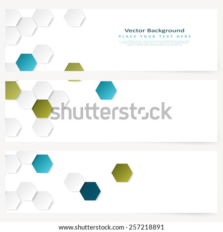 Set of abstract template horizontal banner with color hexagons - stock vector