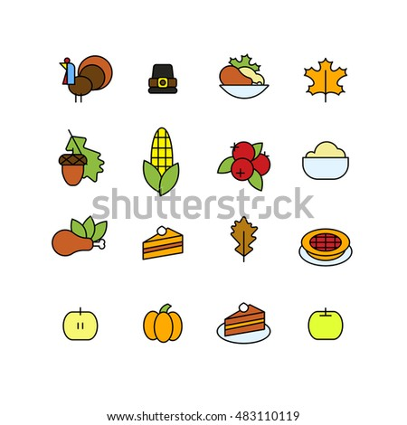 Set of abstract thanksgiving day icon. holiday symbols.