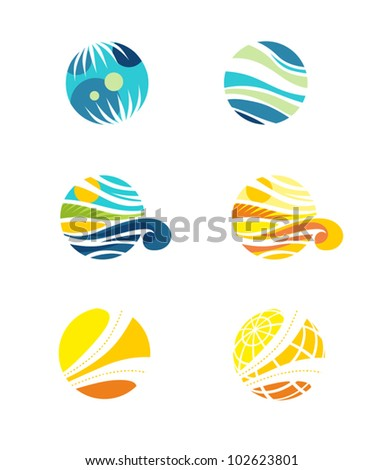 Set of abstract travel icons