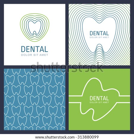 Set of abstract trendy design concept for dental clinic and medicine. Vector linear tooth logo, multicolor seamless pattern and backgrounds with place for text. White, blue and green colors. - stock vector