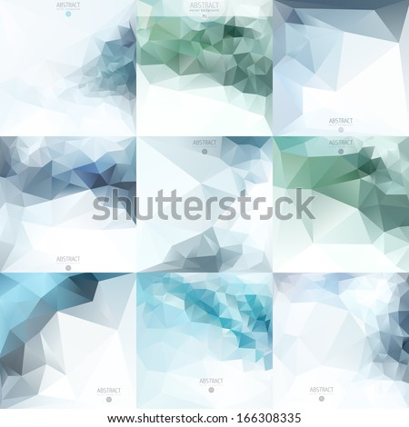 Set Of Abstract vector background design template with triangles - stock vector