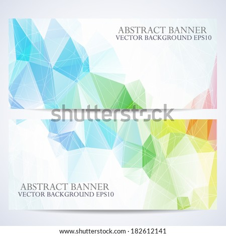 Set of abstract vector banners background with triangle object.  - stock vector
