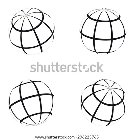Set of abstract vector black and white globes - stock vector