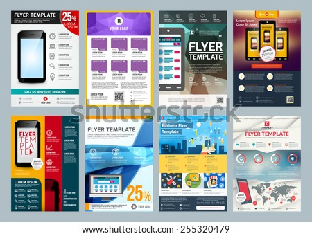 Set of abstract vector business flyer brochure design template - stock vector