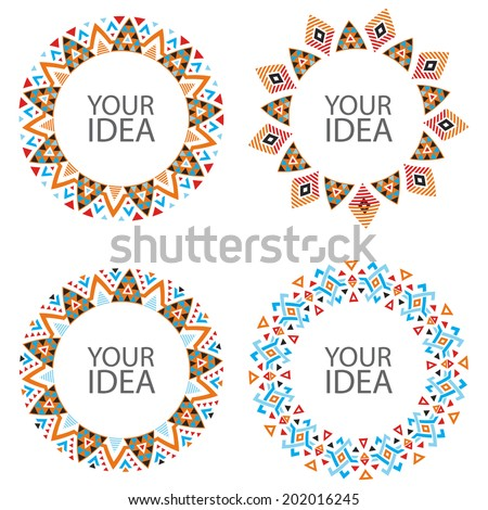 Set of Abstract Vector Circles on White. Decorative Circular Elements for Your Design - stock vector