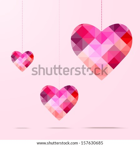 Set of abstract vector colorful hearts hanging. Pixel design. Abstract background. - stock vector