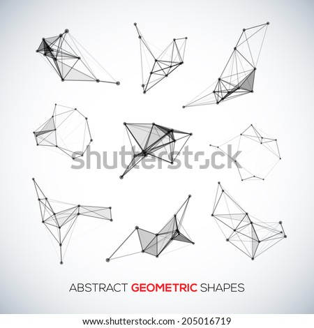Set of abstract vector geometric shapes  - stock vector
