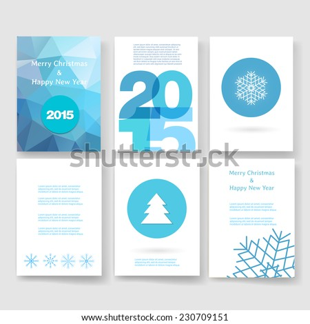 Set of abstract vector modern brochure design template with numbers. Happy new year 2015 . Postcard, invitation. Vector illustration.  - stock vector