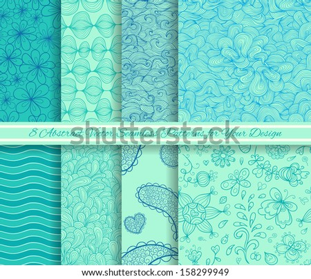 Set of 8 abstract vector seamless patterns - stock vector