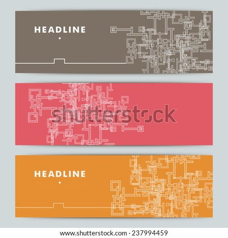 Set of abstract vector shapes on color background. - stock vector