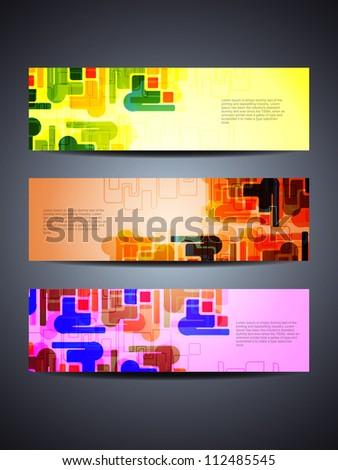 set of abstract vector web header/banner designs - stock vector