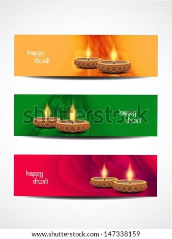 set of abstract vector web header/banner designs for diwali.  - stock vector