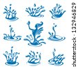 set of abstract waters icons - stock vector