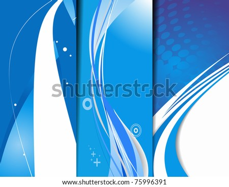 Set of abstract wave banner with place for your text. vector illustration