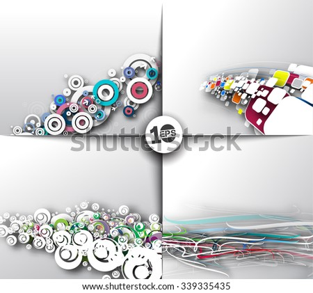 Set of Abstract Wave Design, eps10 vector  - stock vector