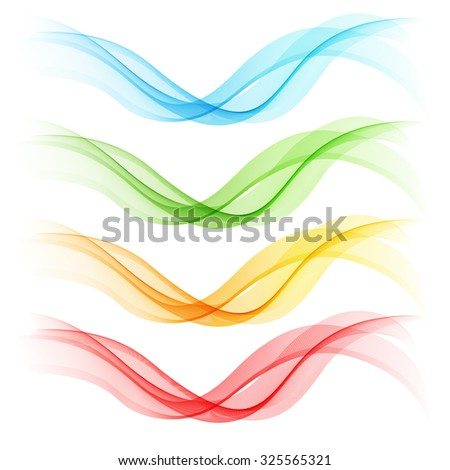 Set of abstract waves. Blue, green, orange and red colorsVector illustration EPS 10 - stock vector