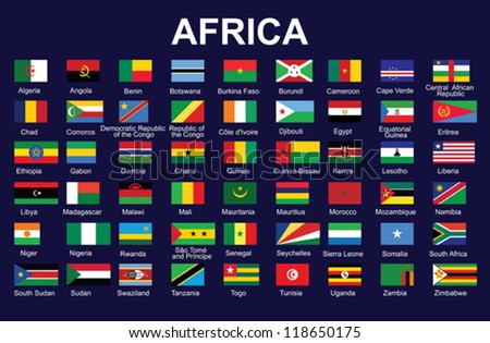set of accurate flags of Africa vector illustration - stock vector