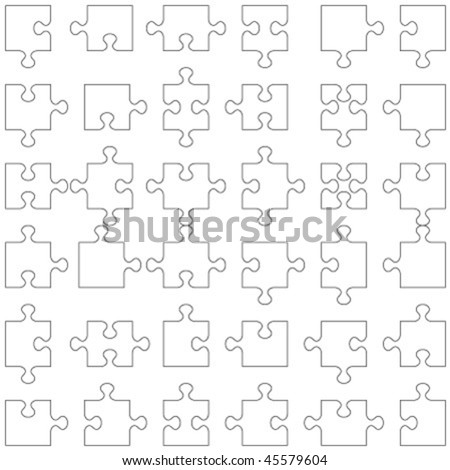 Set of 36 accurate transparent vector puzzle pieces fitting each other ( for high res JPEG or TIFF see image 45579607 )