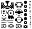 Set of achievement award silhouettes. Includes various badges, ranks, emblems, wreaths, star awards, achievement trophy, and victory banners. Great to represent winners in a competition. Vector EPS10. - stock vector