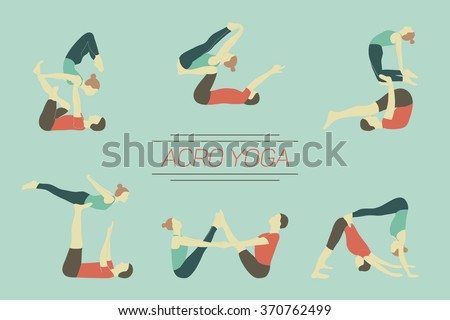 Set of acro yoga poses. Couple practicing asanas. - stock vector