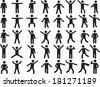 Set of active human pictogram in different colors illustrated - stock vector