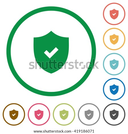 Set of Active security color round outlined flat icons on white background - stock vector