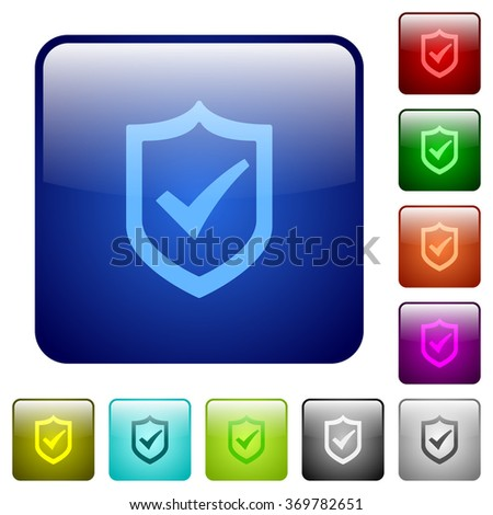 Set of active shield color glass rounded square buttons - stock vector