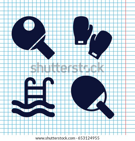 Set of 4 activity filled icons such as swimming pool, boxing gloves, table tennis
