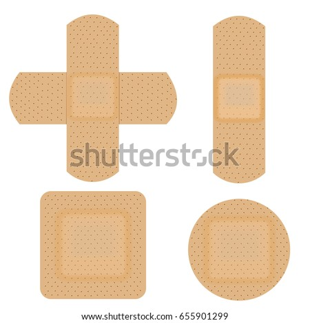 Set of adhesive, flexible, medical plaster. Vector illustration isolated on white background