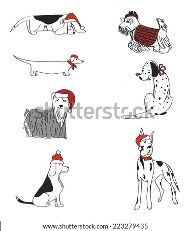 Set of  7 adorable dogs dressed for Christmas - stock vector