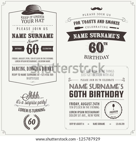 Set of adult birthday invitation vintage typographic design elements - stock vector