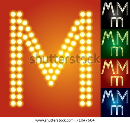 Set of advanced led alphabet with transparency. Character m