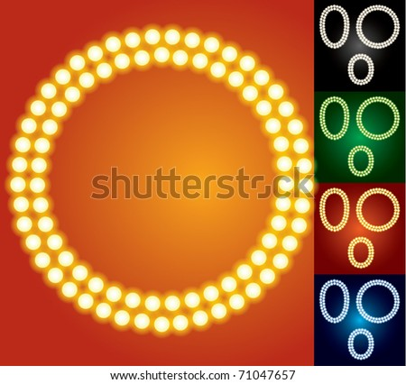 Set of advanced led alphabet with transparency. Character o - stock vector